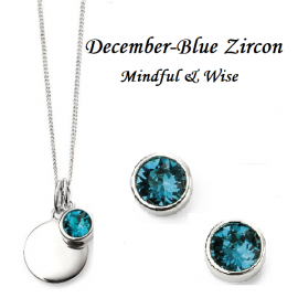Dec Birthstone Blue  SWAROVSKI pendant and earrings, engravable  set