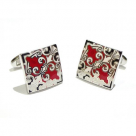 Rhodium Plated Red Enamelled Cufflinks