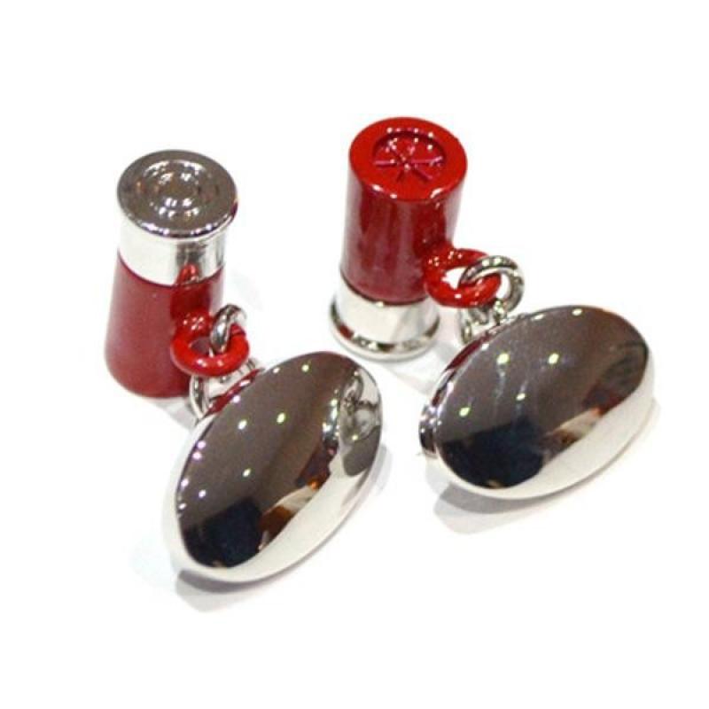 Red Shotgun Shell Chain & PlateStyle Cufflinks