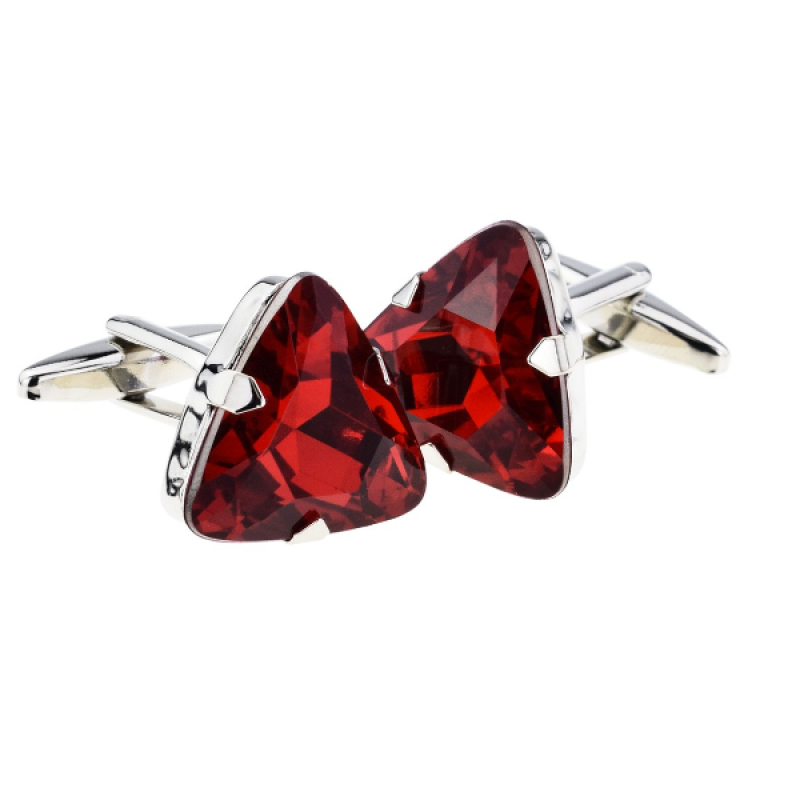 Ruby Red Triangular Acrylic Crystal Cufflinks