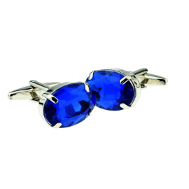 New Spoilt Collection Sapphire Blue Oval Acrylic Crystal Cufflinks