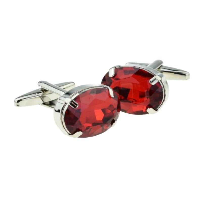 Ruby Red Oval Acrylic Crystal Cufflinks