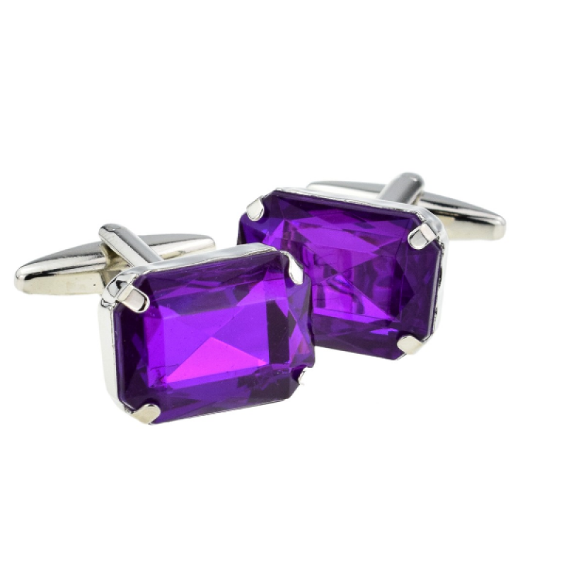 New Spoilt Collection Purple Baguette Cut Acrylic Crystal Cufflinks