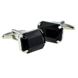 New Spoilt Collection Black Baguette Cut Acrylic Crystal Cufflinks
