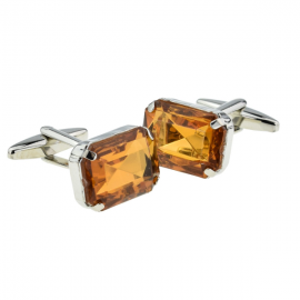 New Spoilt Collection Amber Baguette Cut Acrylic Crystal Cufflinks