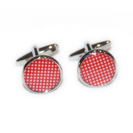 Red Polka Dot Round Bordered Cufflinks