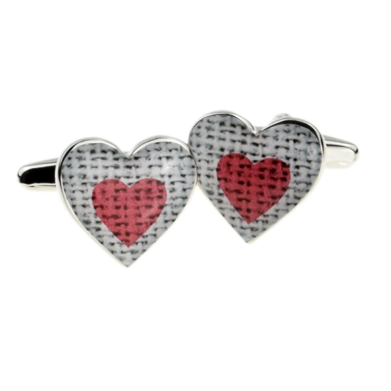 Red Heart Wedding Cufflinks