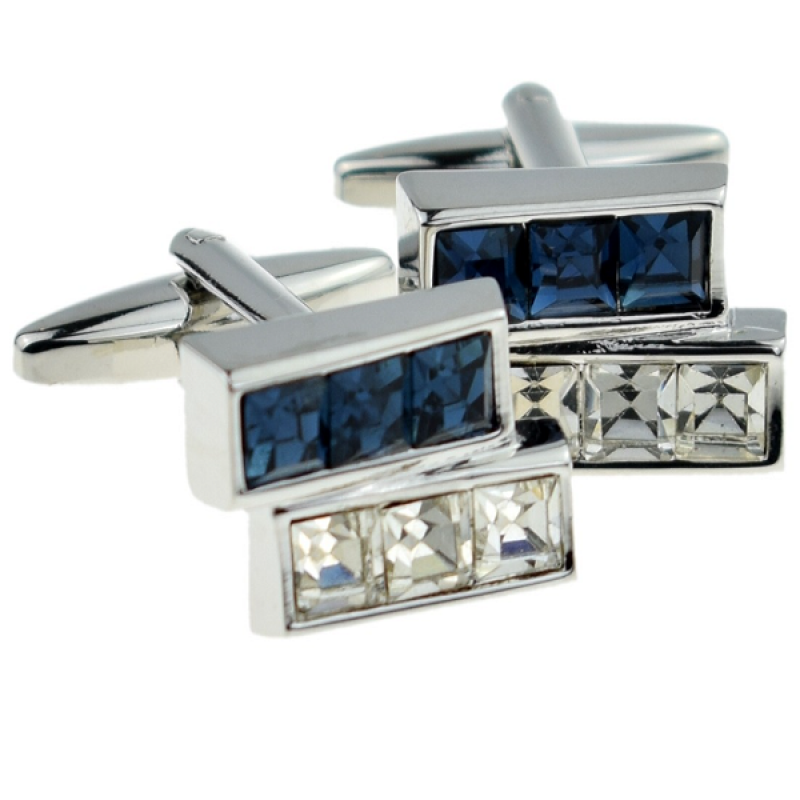 New Spoilt Collection Charismatic Blue & White Crystal Bars Cufflinks