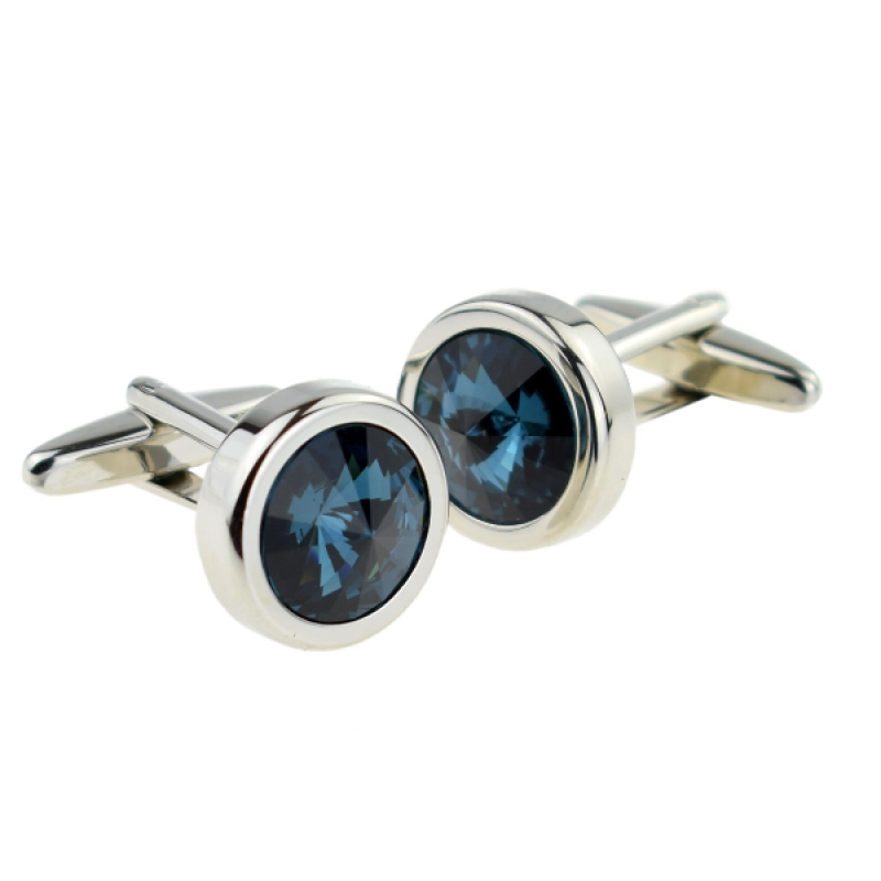 Dark Blue Large Crystal Cufflinks
