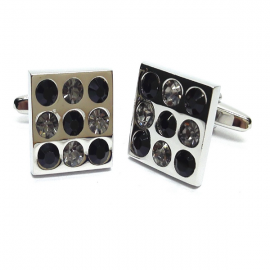 New Spoilt Collection Black & White Crystals Classic Cufflinks