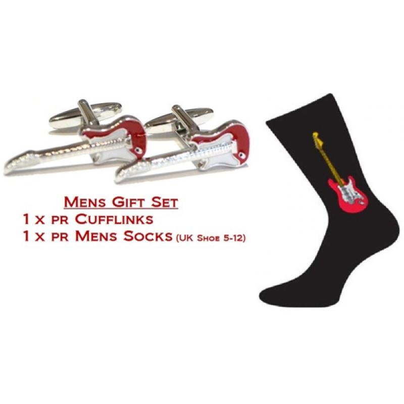 Red Guitar Music Set Cufflinks & Socks