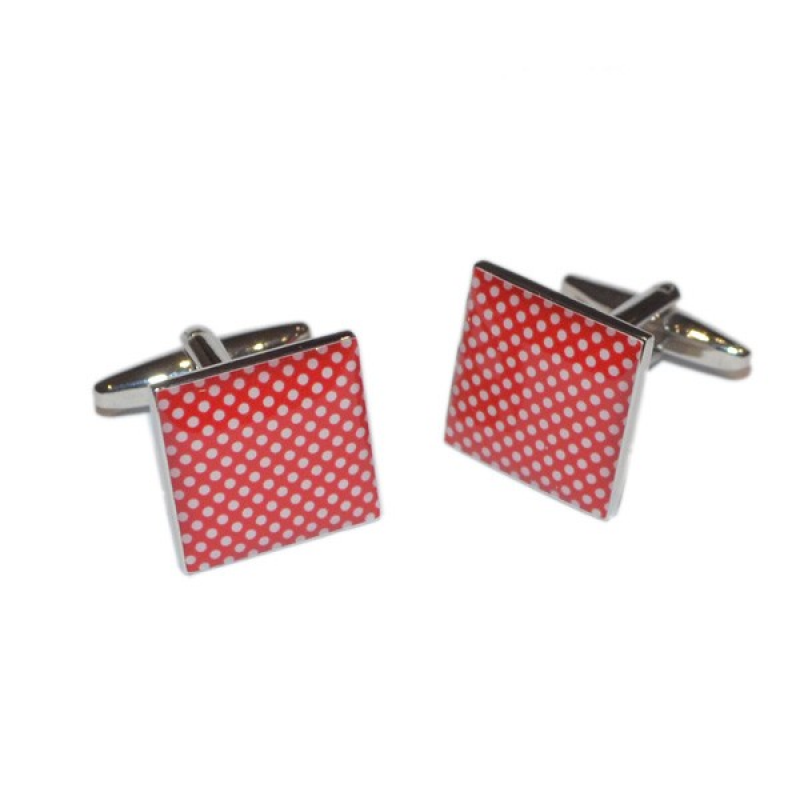 Red & White High End Polka Dot Cufflinks