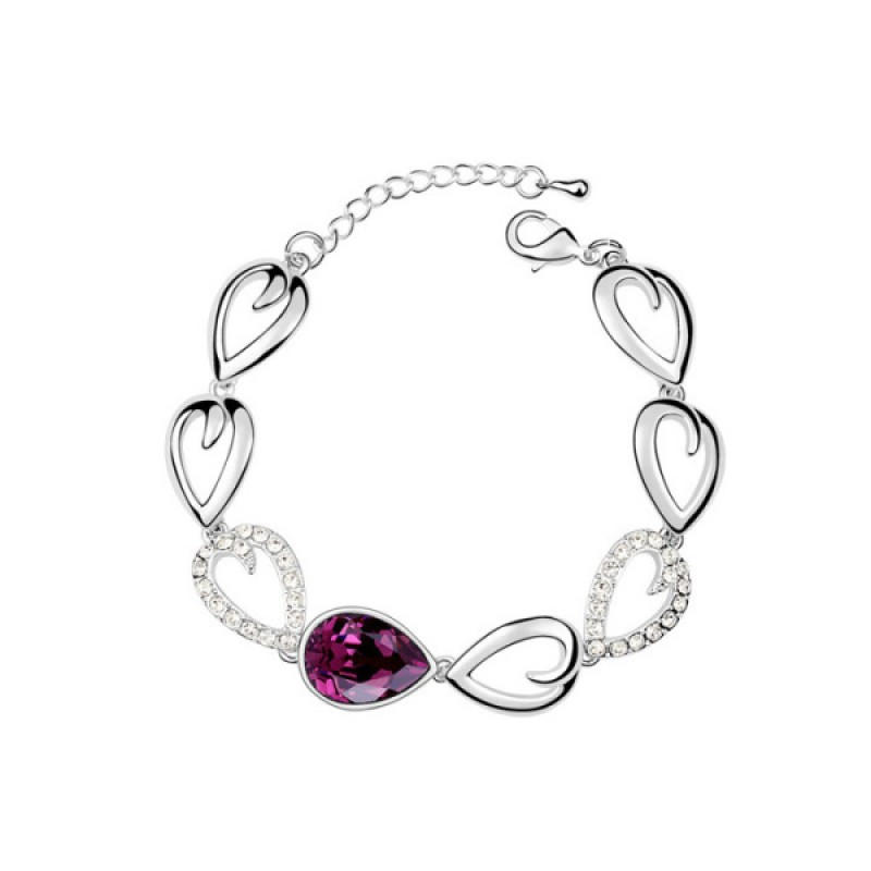 Amethyst Tear Drop Crystal Bracelet