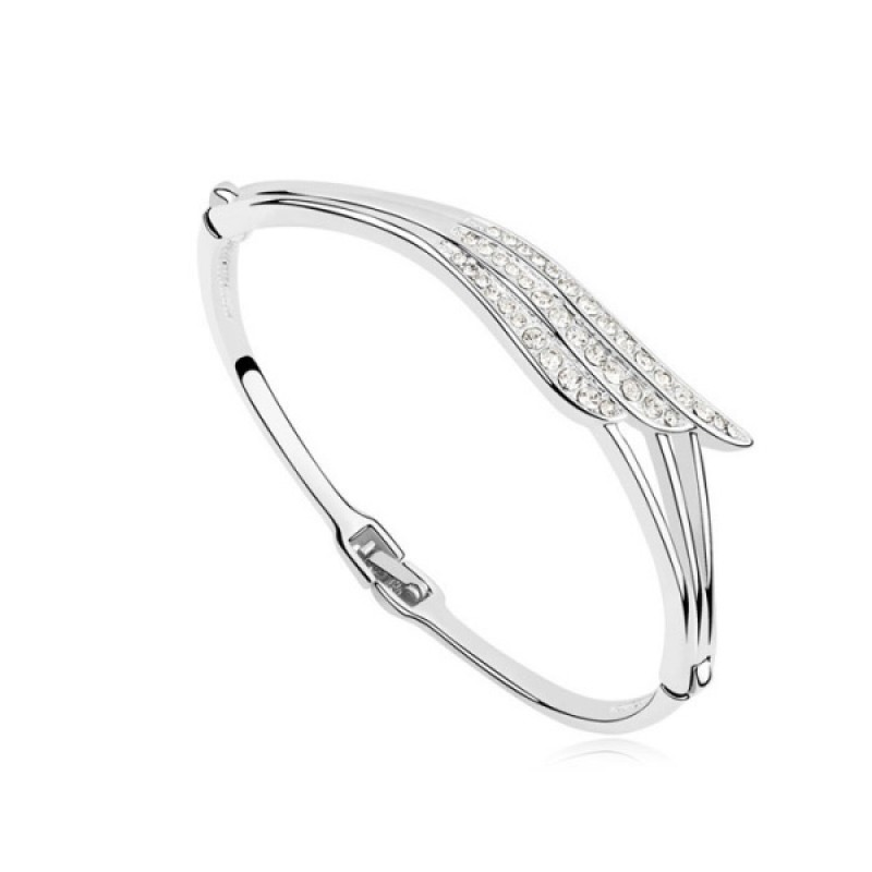 White Love of Wings Crystal Bangle