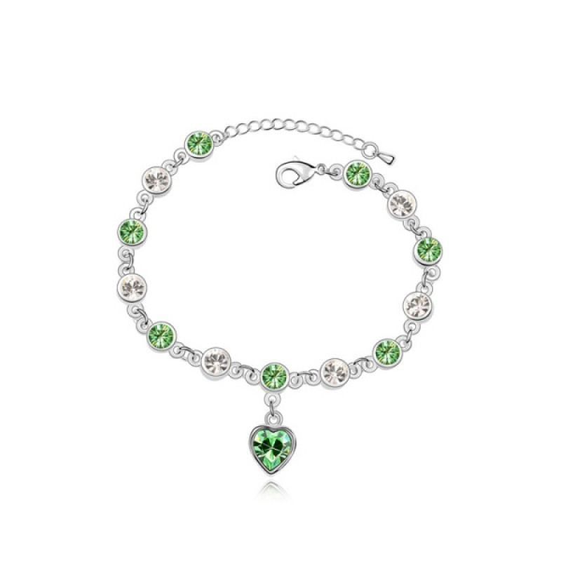 Cherish Love Olive Green Exquiste Crystal Bracelet