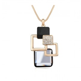 Gold Plated Cube Station Boutique Chain Black Diamond Crystal