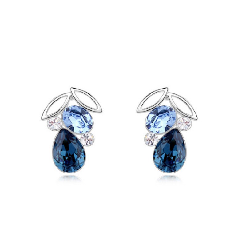 Night Elf Dark Blue, Light Blue Crystal Earrings