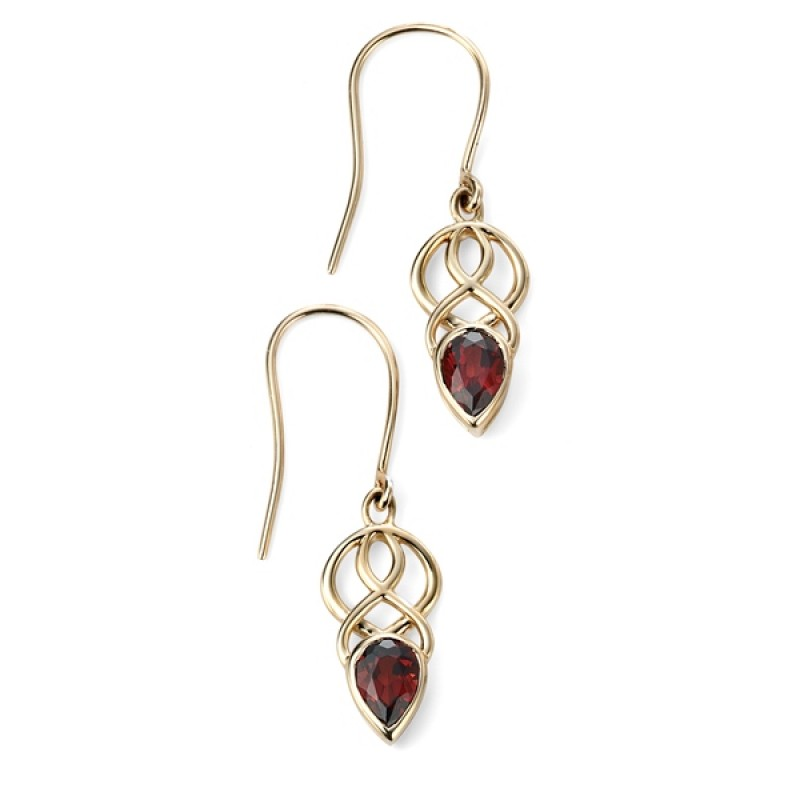 YELLOW GOLD GARNET PEAR DROP CELTIC STYLE EARRINGS