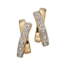 White Diamond and Yellow Gold  Earrings