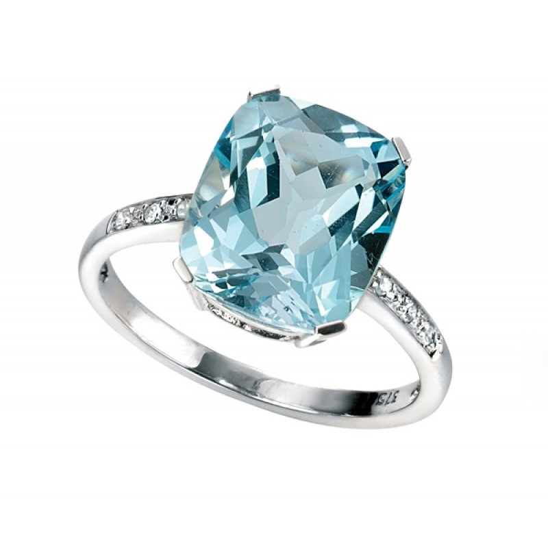 BLUE TOPAZ AND DIAMOND White Gold Ring