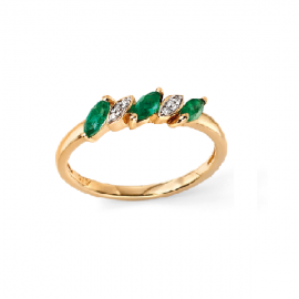 PRECIOUS EMERALD AND DIAMOND MARQISE RING