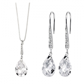 Teardrop Hook Cubic Zirconia Earrings & Pave Bail Pendant Set