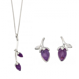 Silver Rose Bud Amethyst Earrings and Pendant