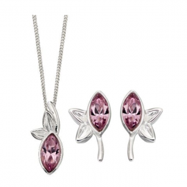 Amethyst Swarovski Silver Earrings and Pendant Set