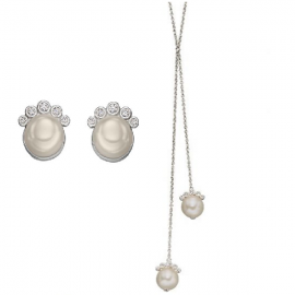 Freshwater Pearl & CZ Lariat Necklace and Stud Earrings