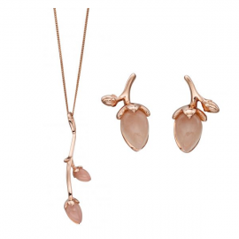Rose Gold Plate Rose Bud Pendant and Earrings