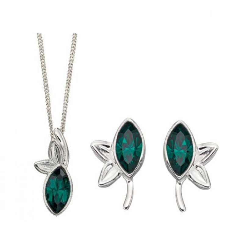 Emerald Swarovski Leaf Earrings and Necklace Set
