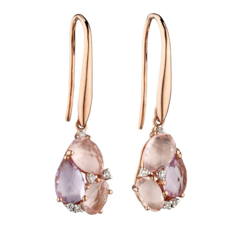 Rose Quartz Amethyst Diamond Earrings