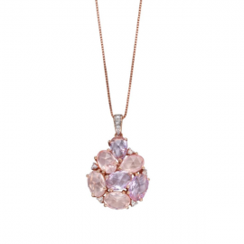 ROSE QUARTZ AMETHYST DIAMOND NECKLACE