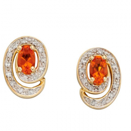 New Alluring Fire Opal Stud Earrings