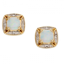 New Collection Opal And Diamond Stud Earrings