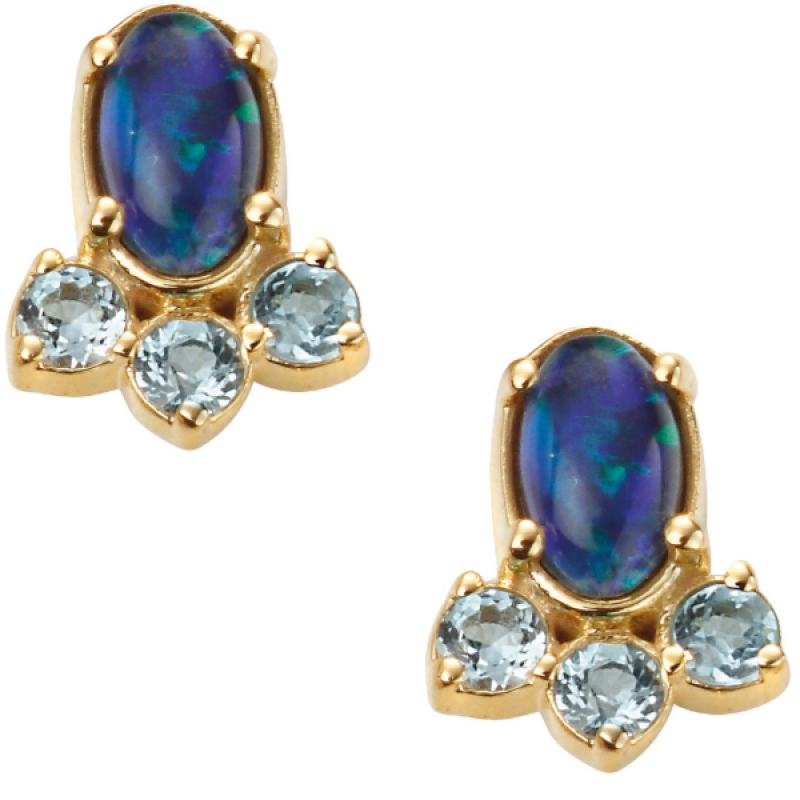 BLUE OPAL TRIPLET,SWISS BLUE TOPAZ EARRINGS