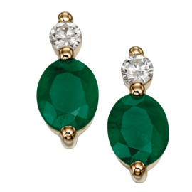 PRECIOUS NATURAL EMERALD EARRINGS WITH DIAMOND