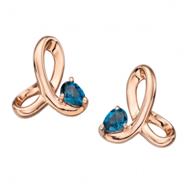 Rose gold Blue Topaz twisted profile earrings