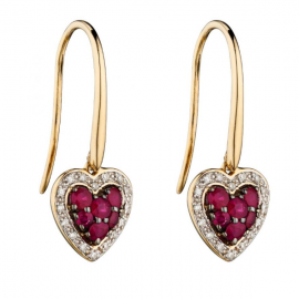 RUBY AND DIAMOND HEART EARRINGS
