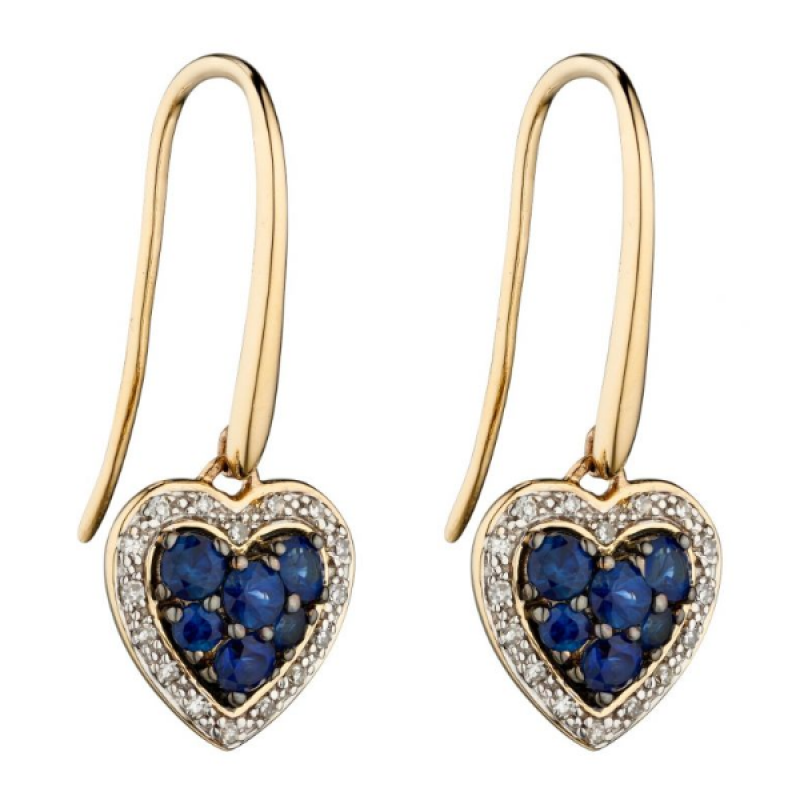 DIAMOND SAPPHIRE HEART EARRINGS.