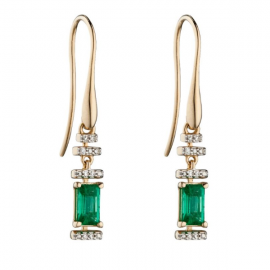 EMERALD/8 PAVE DIAMOND EARRINGS