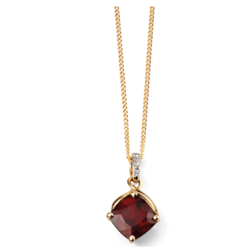 GARNET AND DIAMOND GOLD NECKLACE