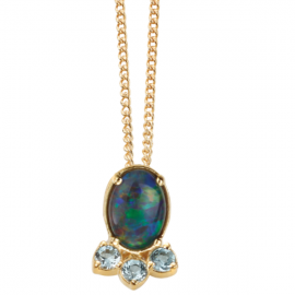 BLUE OPAL TRIPLET,SWISS BLUE TOPAZ NECKLACE