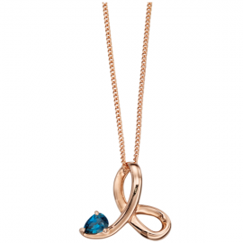 Rose gold Blue Topaz twisted profile pendant