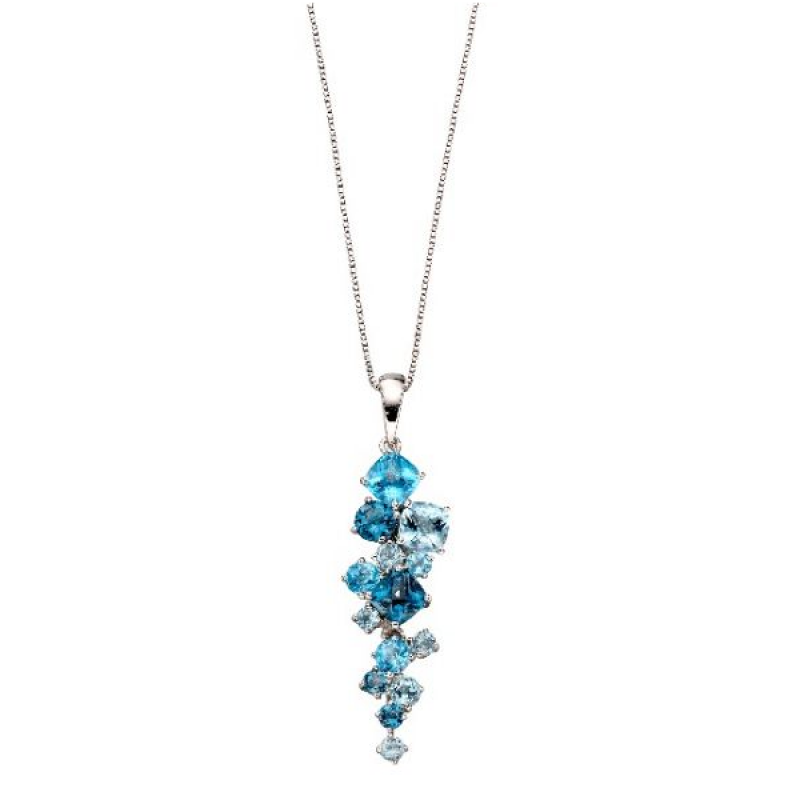 Blue Topaz and White Gold Necklace