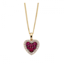 RUBY AND DIAMOND HEART PENDANT/CHAIN
