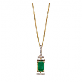 EMERALD/10 DIAMONDS PENDANT CHAIN
