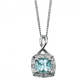 AQUAMARINE AND DIAMOND Necklace