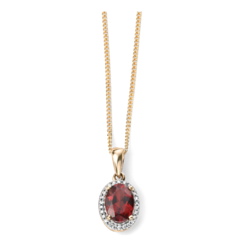 GARNET  OVAL  PENDANT WITH DIAMONDS