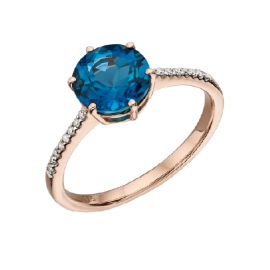 NEW LONDON BLUE TOPAZ PAVE DIAMOND RING